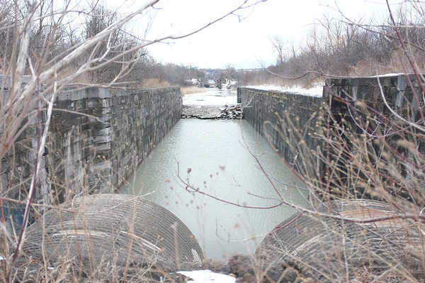 Taking a look back at the mill or canal along the trail