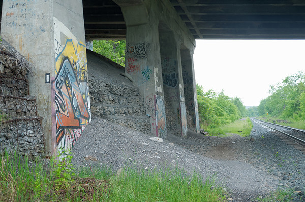 Enjoying the graffiti along the tracks while passing under a bridge.