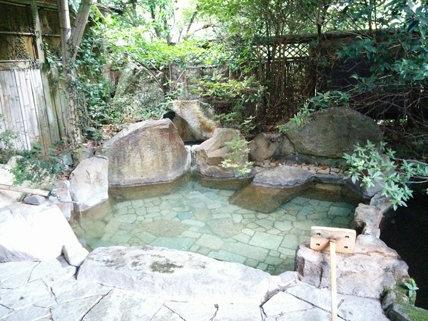 An awesome private outdoor onsen at the Yoshinoya Ryokan.