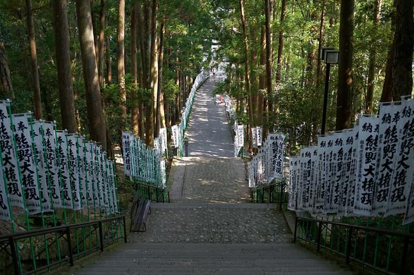 The stairs down from the Kumano Hongu Taisha Grand Shrine.
