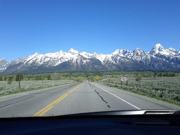 Driving through the Grand Tetons National Park
