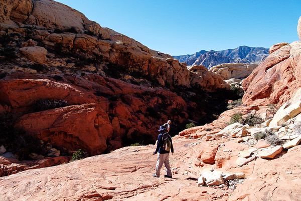 Hiking through a valley in Red Rock Canyon