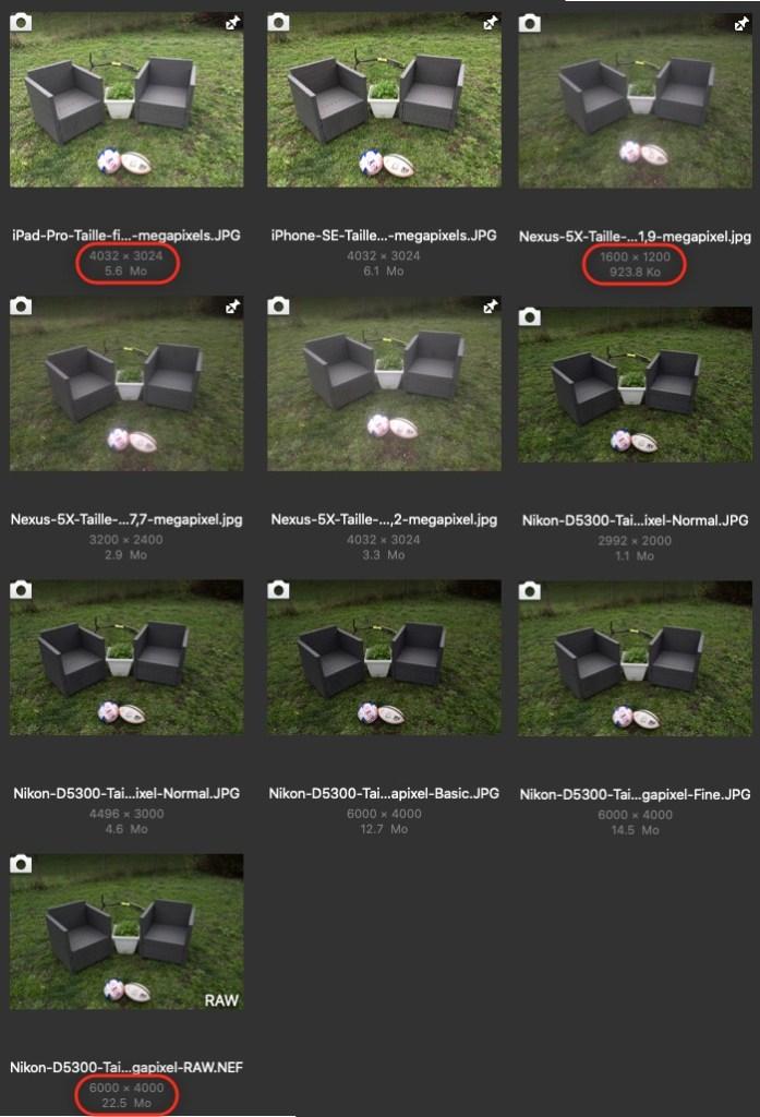 Une même image prise a différentes résolutions (megapixels)