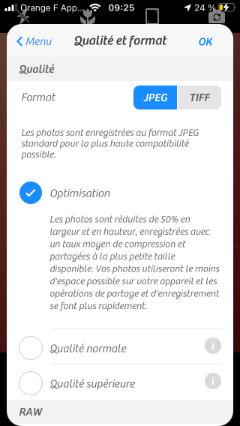 Réglage de la résolution et du format d'image sur l'App Camera+