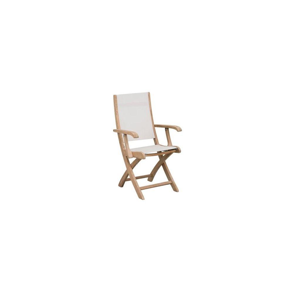 chaise pliante avec accoudoirs teck fsc et textilene blanc lot de 2 chaises