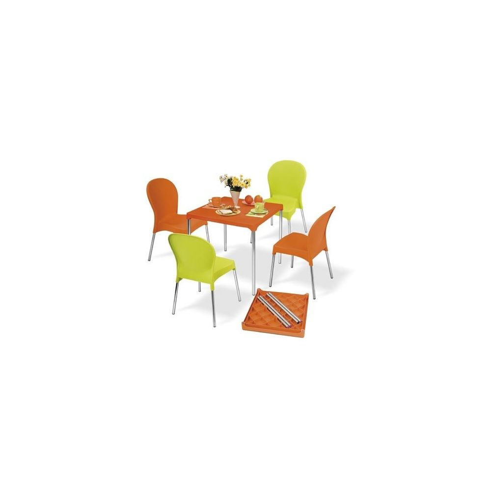 salon de jardin 4 places warhol table en aluminium et pvc 4 chaises orange et vert anis