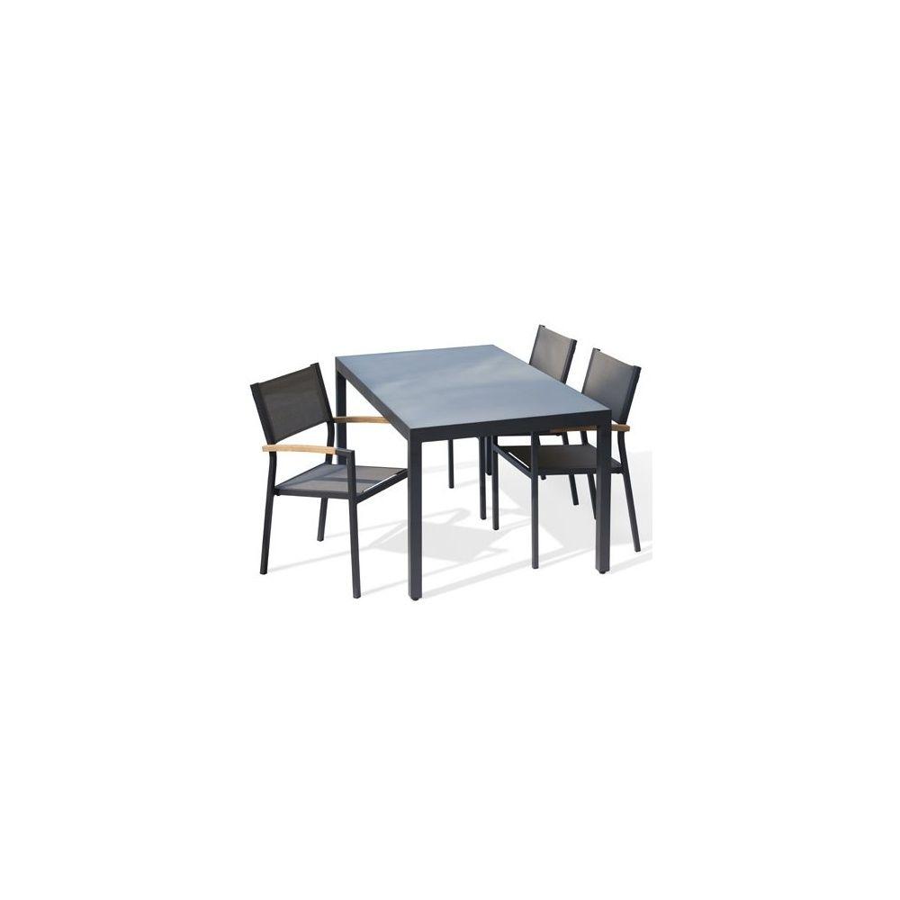table de jardin aluminium 220 cm anthracite plateau verre mat