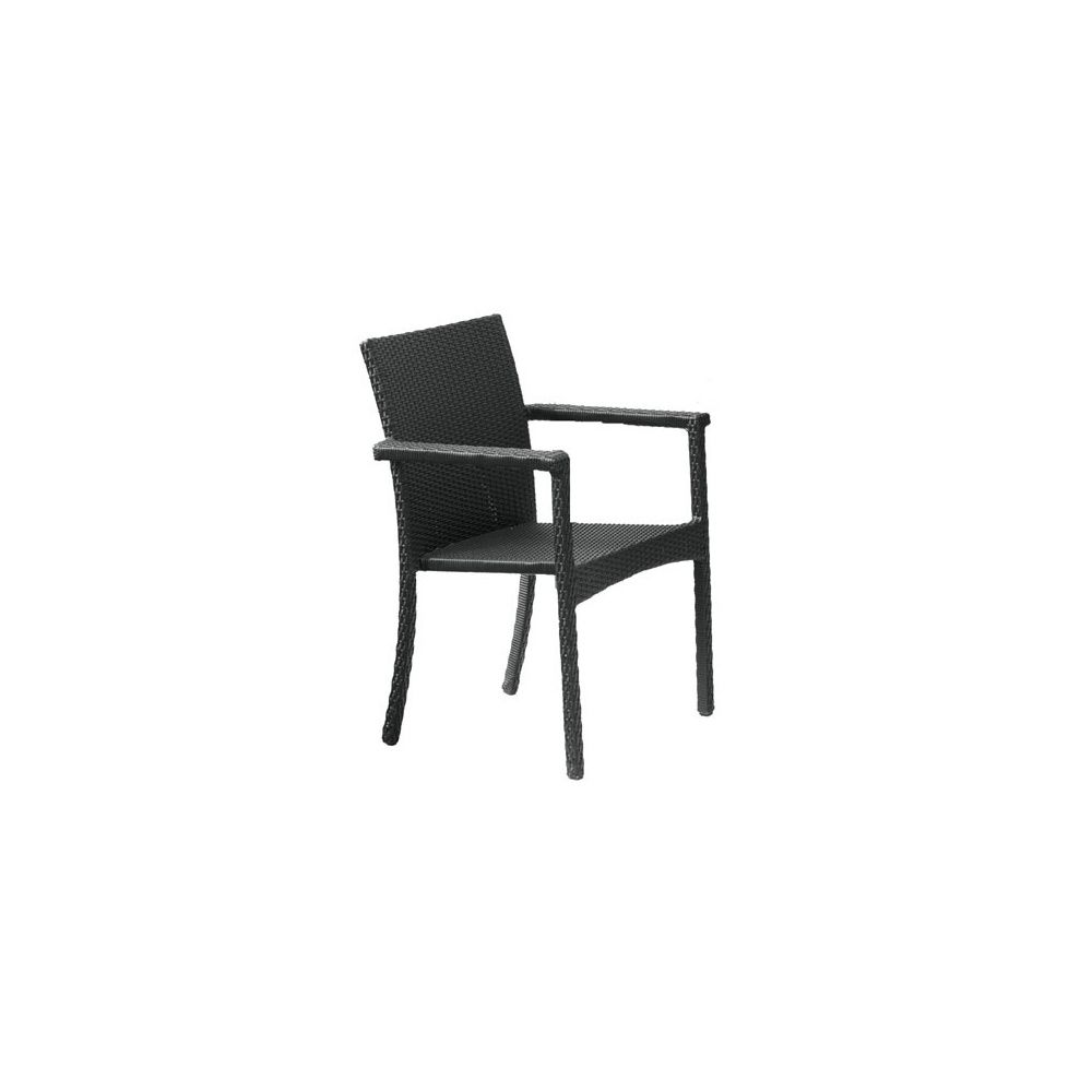 fauteuil de jardin en resine tressee wicker empilable anthracite