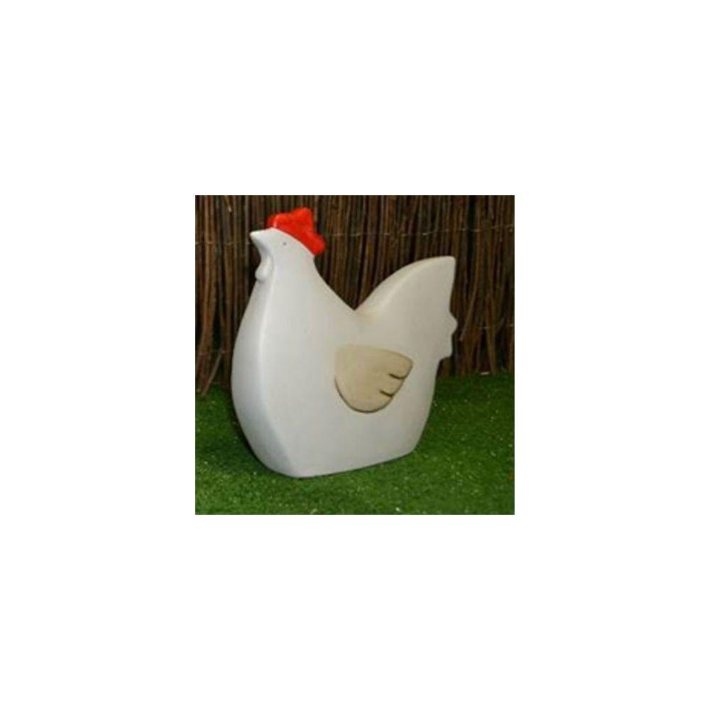 poule decorative en ceramique blanc h 23 cm natura deco
