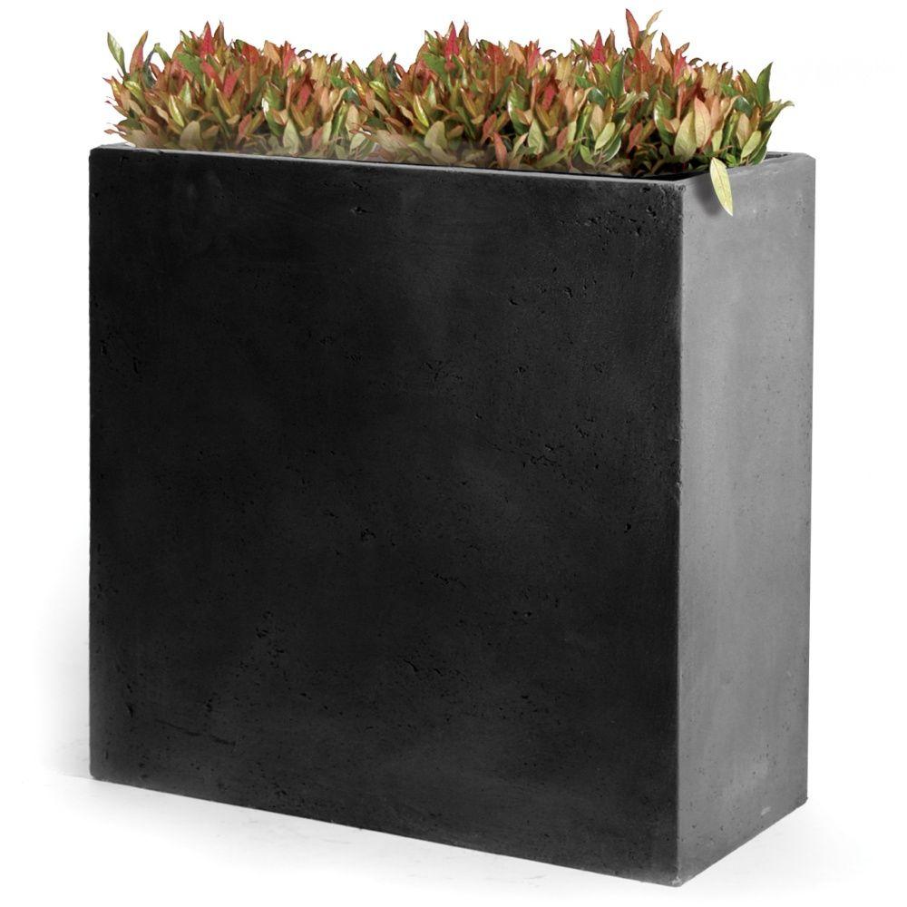 bac a fleurs fibre de terre clayfibre l60 h72 cm anthracite