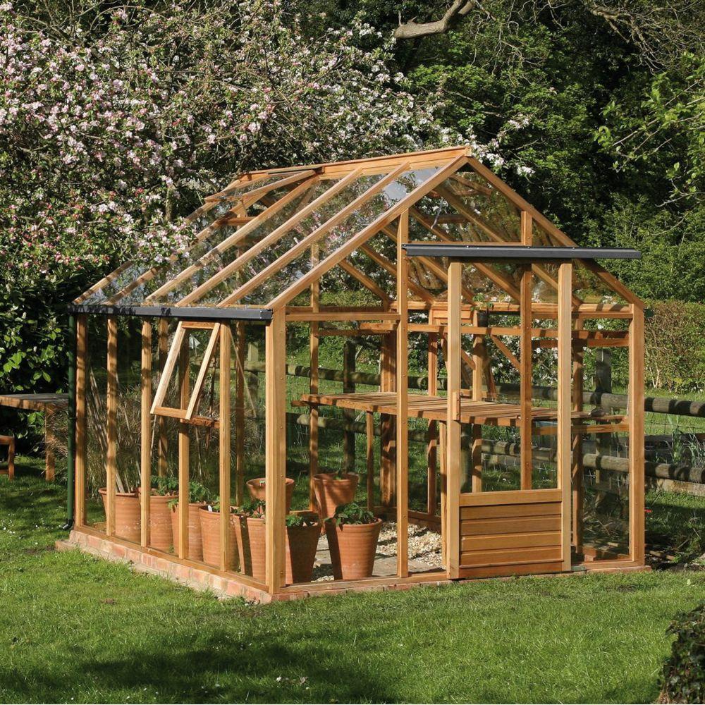 serre de jardin en bois et verre trempe classic 7 20 m hors tout cedre rouge juliana