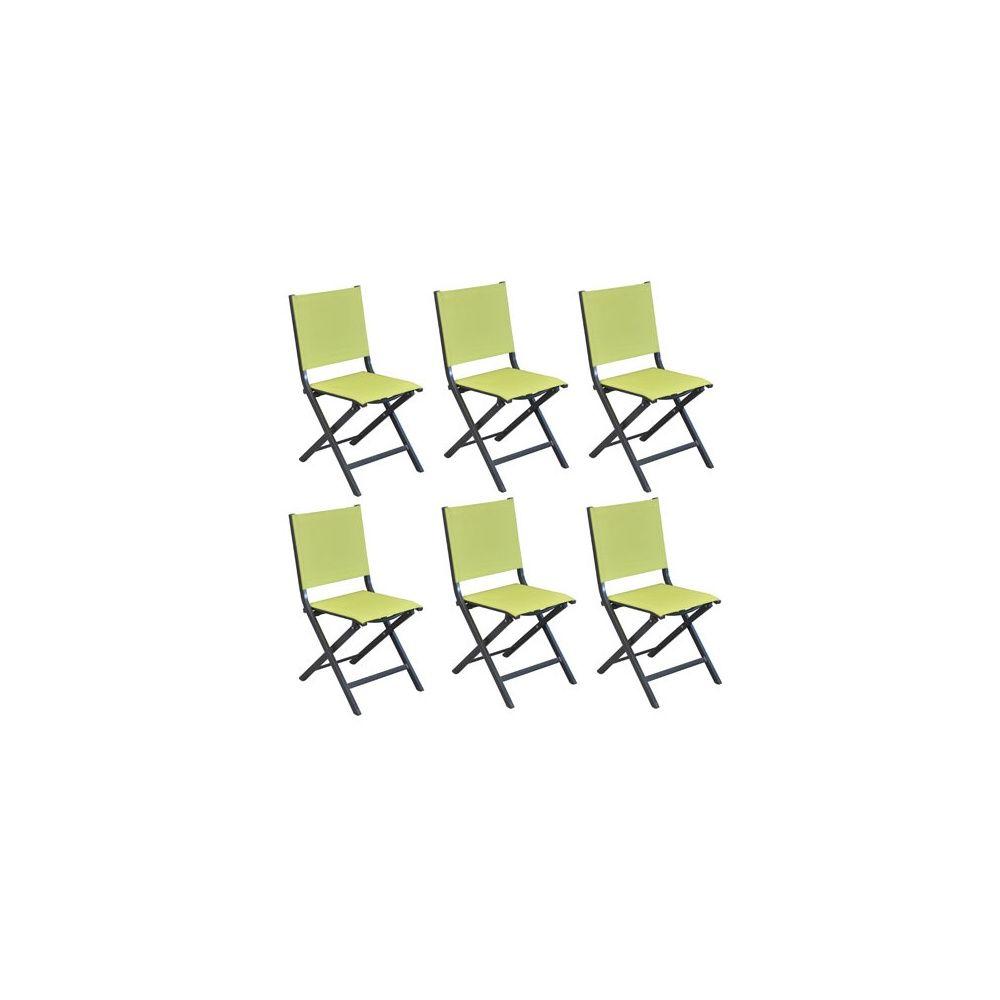 lot de 6 chaises pliantes thema aluminium textilene citron vert