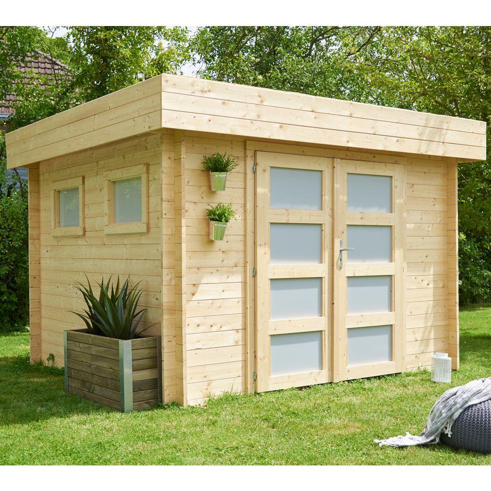 abri de jardin bois toit plat kivik 9 53 m ep 28 mm