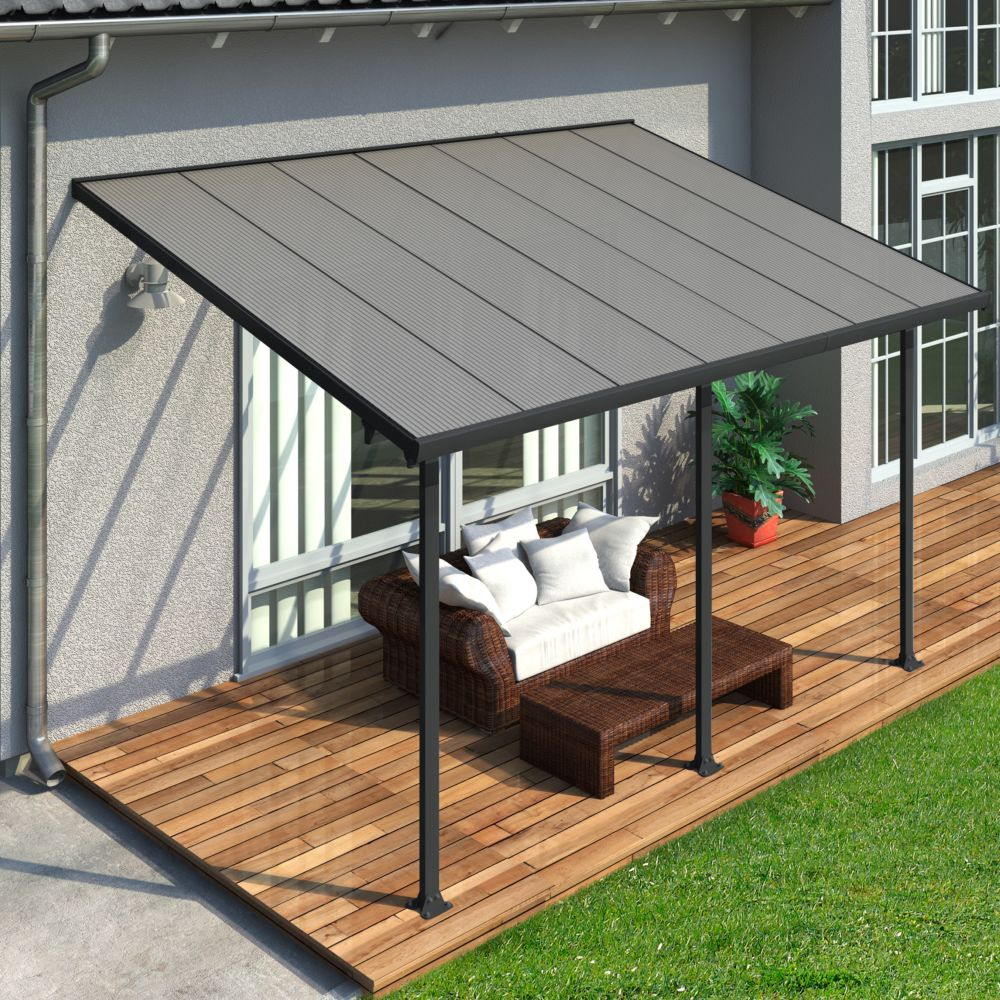 pergola toit terrasse aluminium et polycarbonate 4x3 m gris