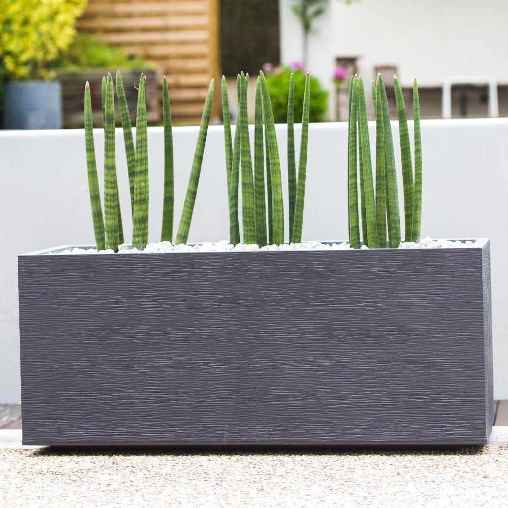 jardiniere graphit plastique l99 5 h43 cm gris anthracite