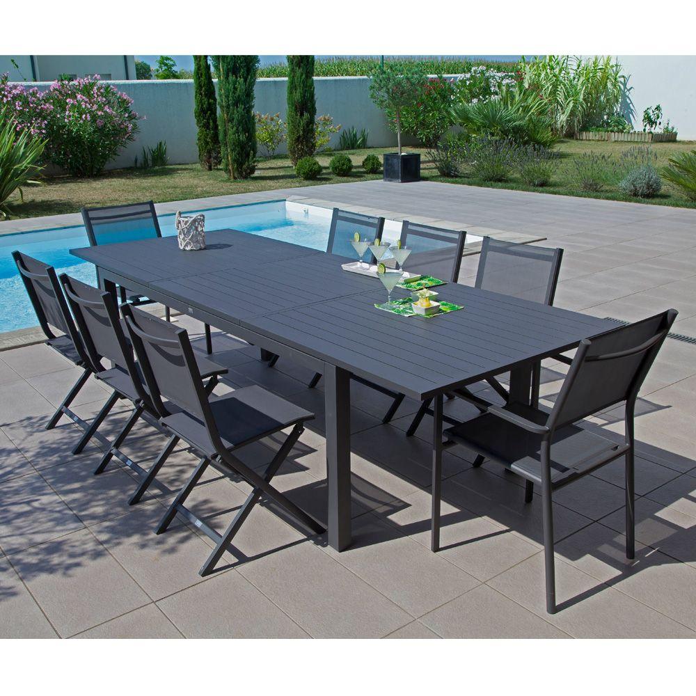 table de jardin trieste aluminium l200 280 l103 cm gris