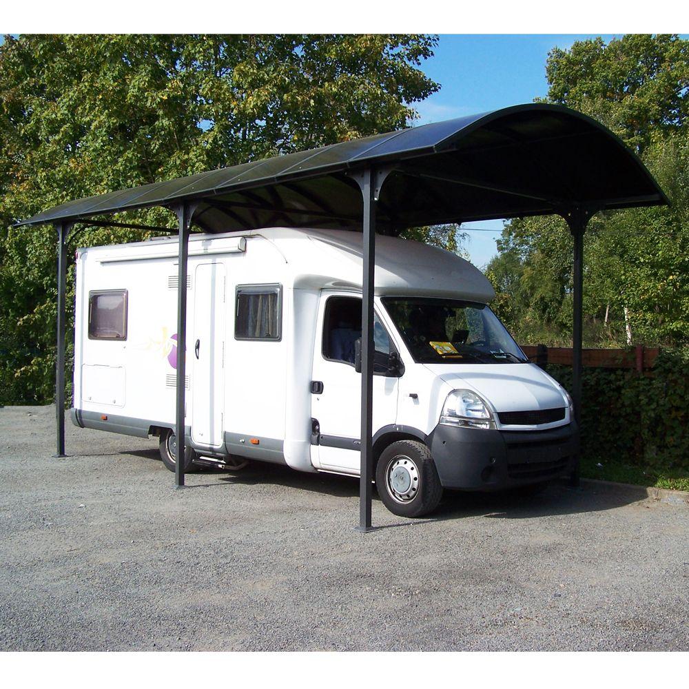 Carport Grande Hauteur Aluminium Toit Polycarbonate Habrita 1 Camping Car 27 51 M 4 Colis Gamm Vert
