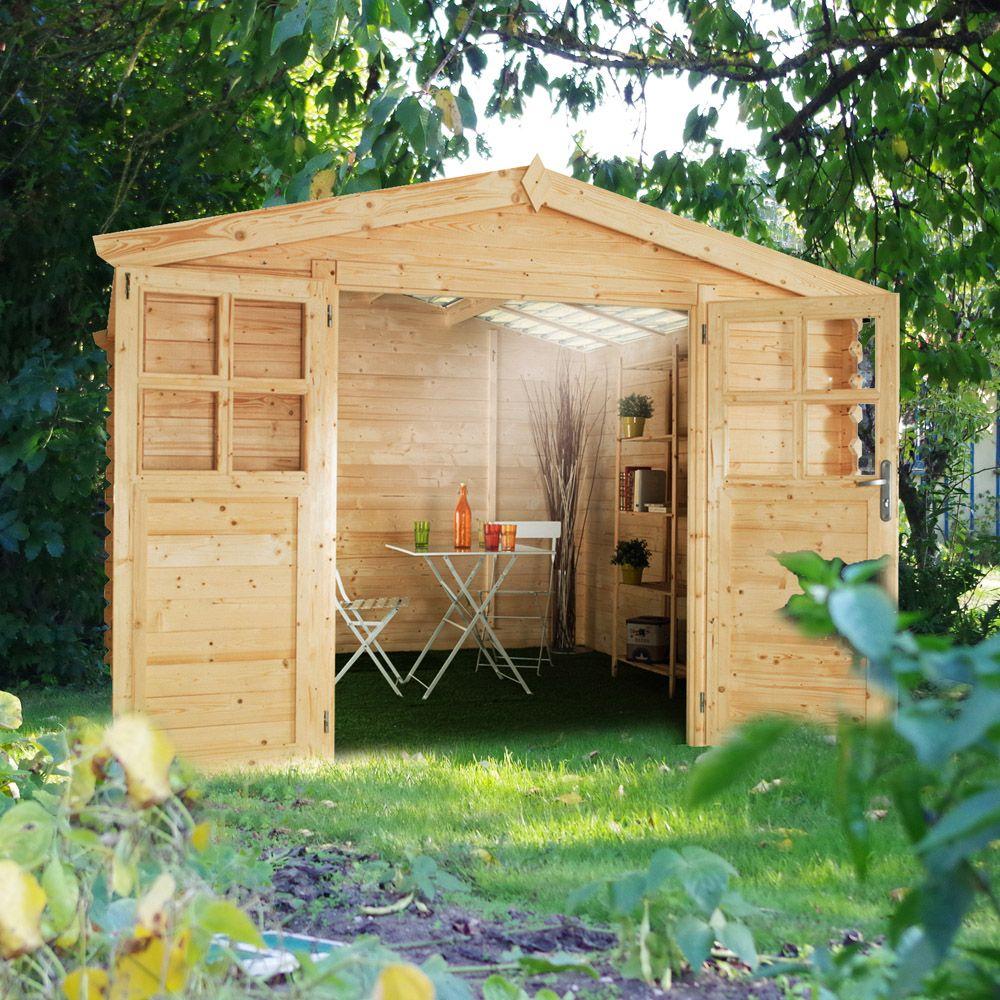 abri de jardin bois toit polycarbonate 6 32 m ep 28 mm soleil