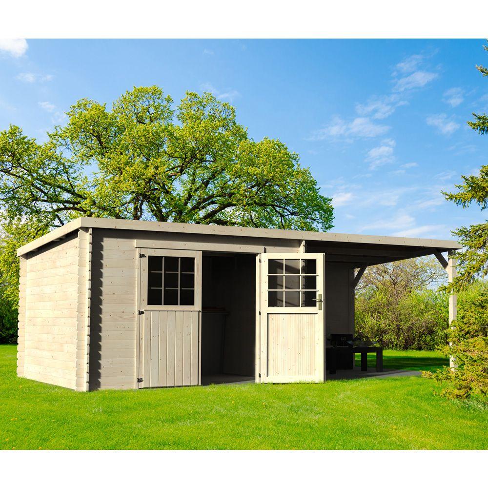 abri de jardin bois toit plat auvent eden 18 31 m ep 28 mm