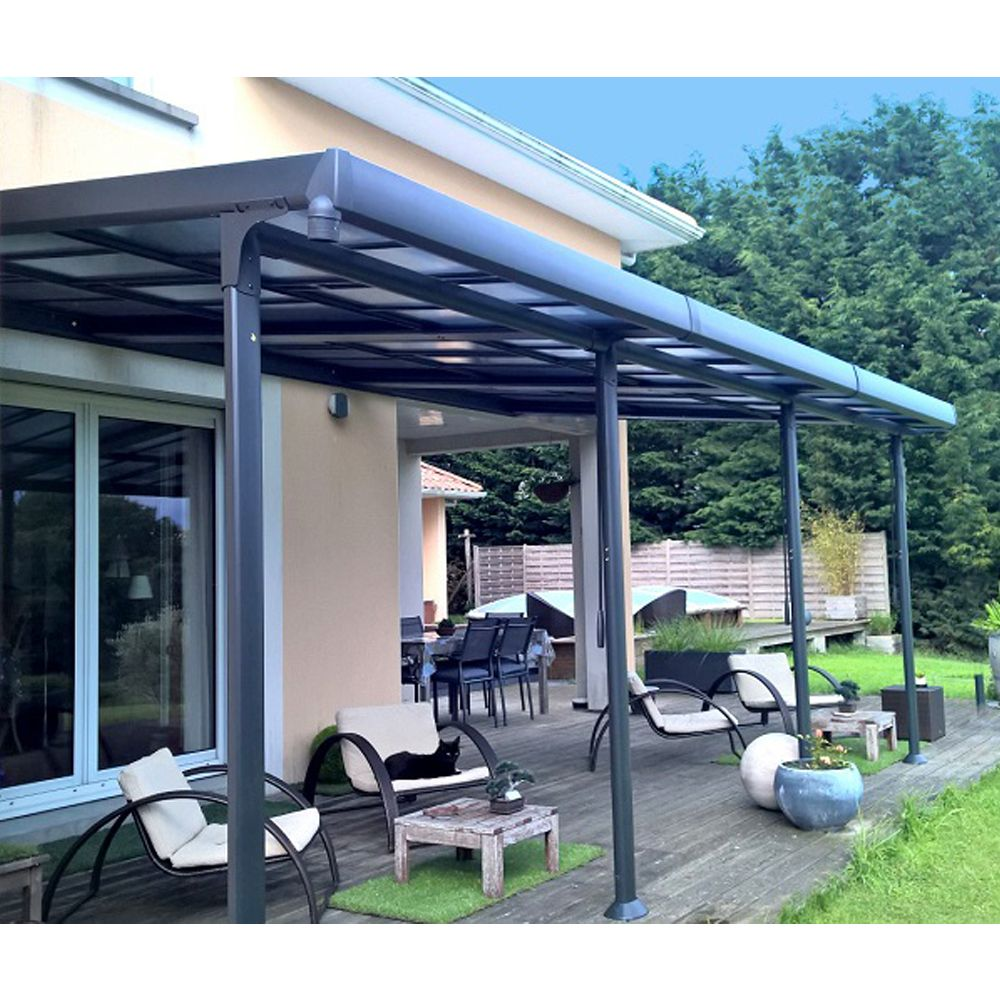 tonnelle adossee aluminium toit polycarbonate 3 5x6 m azura