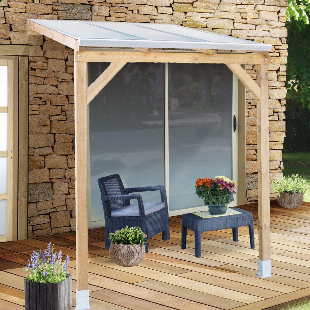 pergola adossee bois traite toiture polycarbonate 3x2 m