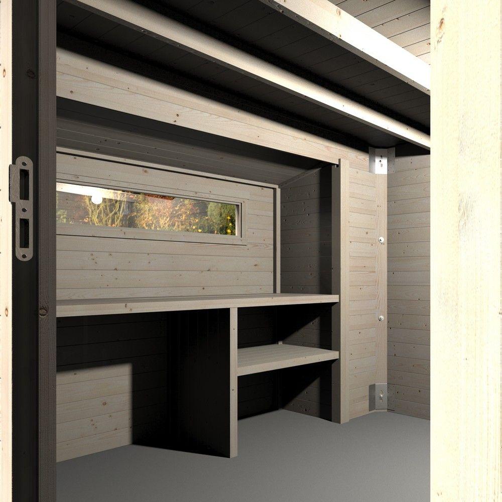 abri de jardin bois toit plat atelier 12 46 m ep 28 mm