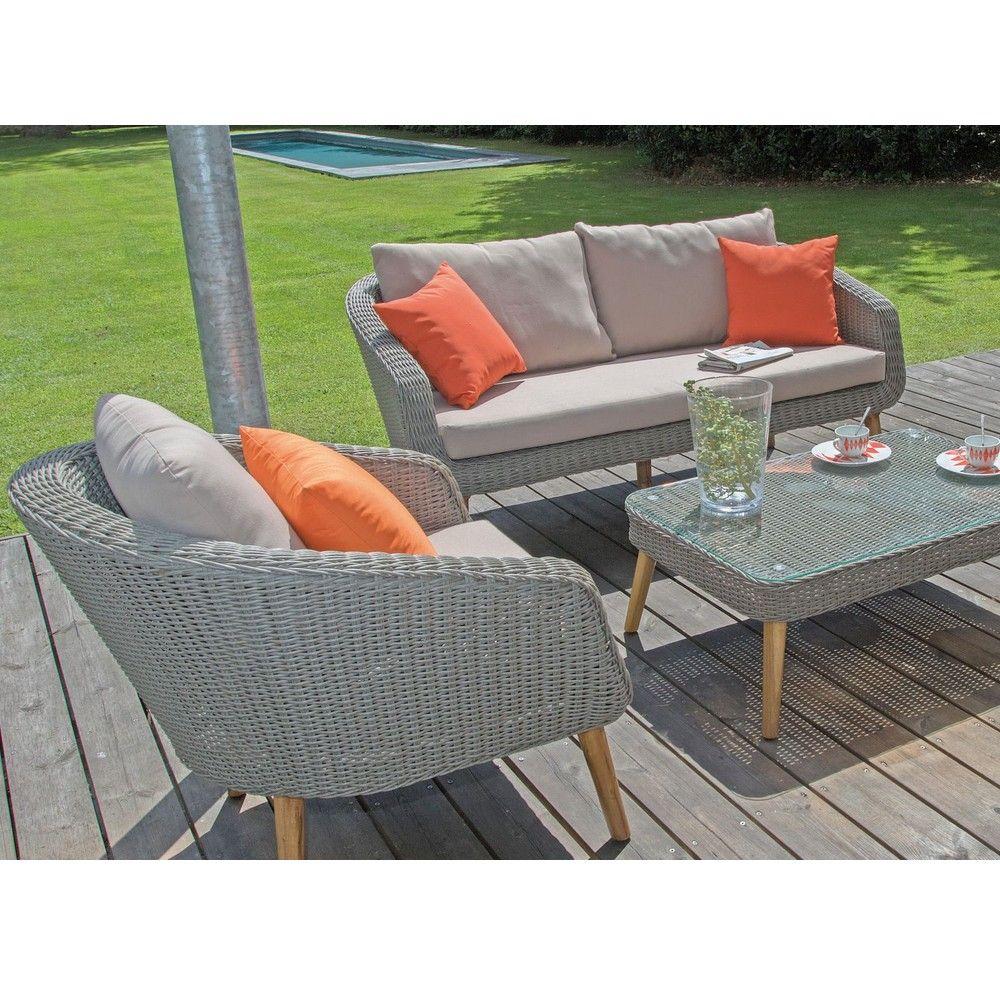 salon de jardin bas centura resine tressee 2 fauteuils 1 canape 1 table