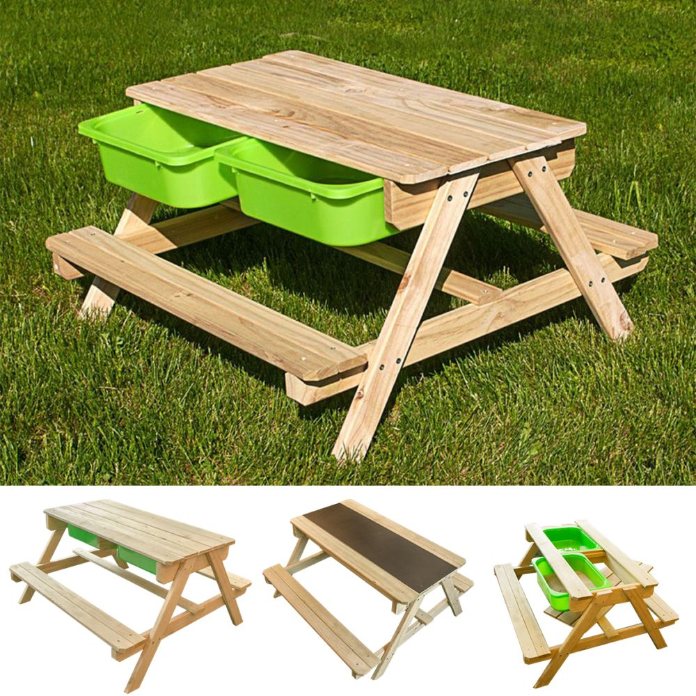 table de jardin bois avec bac a sable et eau