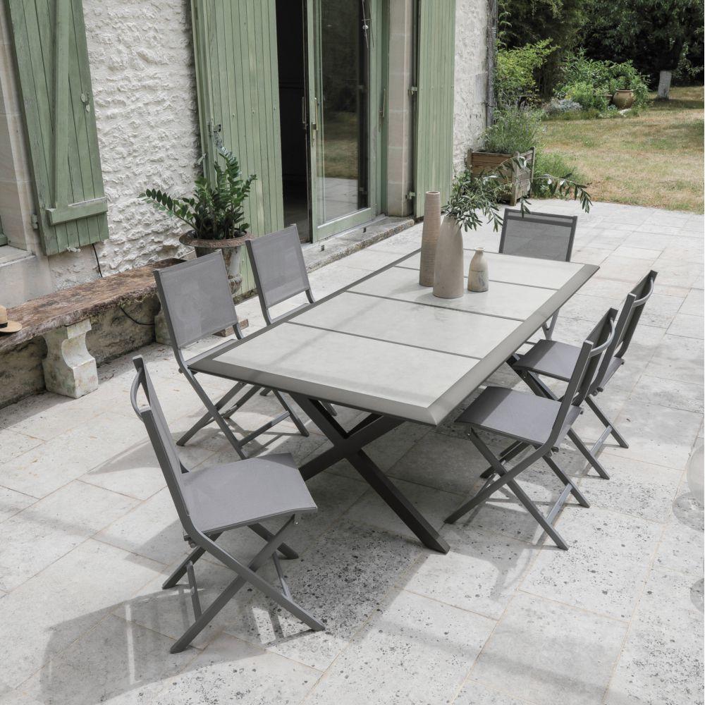 salon de jardin 6 personnes en aluminium et ceramique