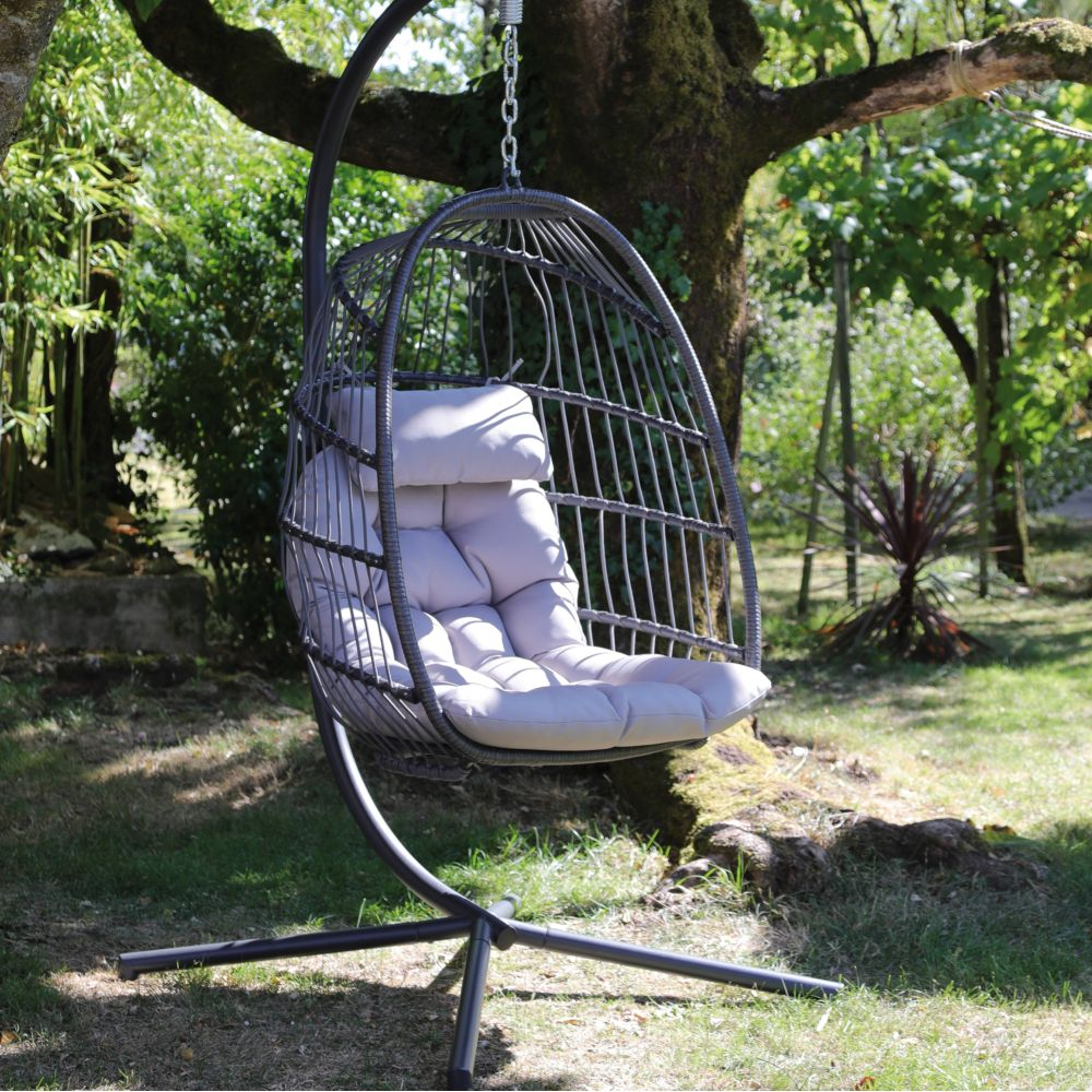 fauteuil suspendu kiwi acier et aluminium gris