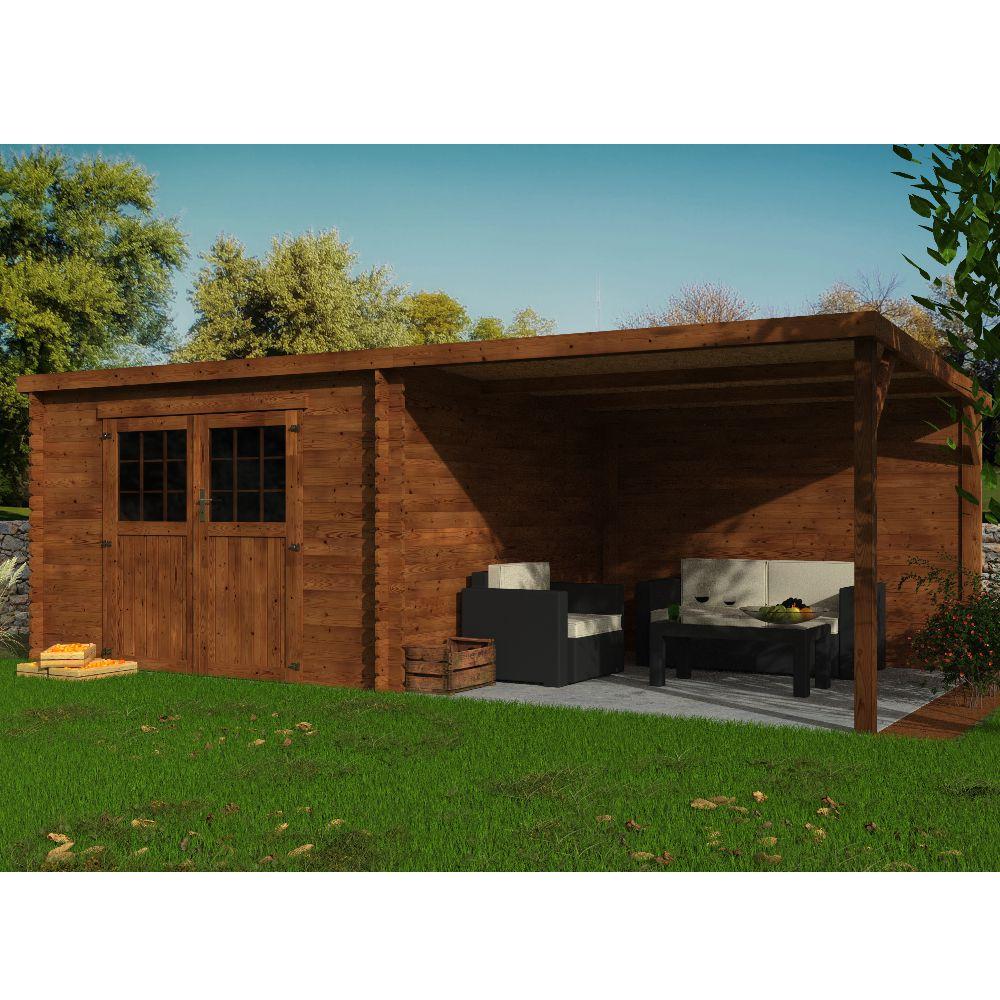 abri de jardin bois traite toit plat avec auvent eden 18 31 m ep 28 mm
