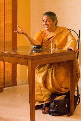 Vandana Shiva speaking to us in Delhi