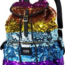 Nwt Victoria's Secret Pink Limited Edition Bling Backpack Rainbow Bling Paillett Photo