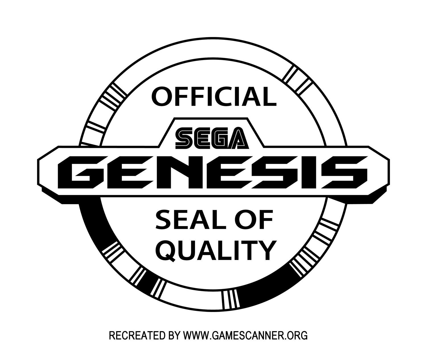 Sega Genesis Seal of Quality logo - B&W