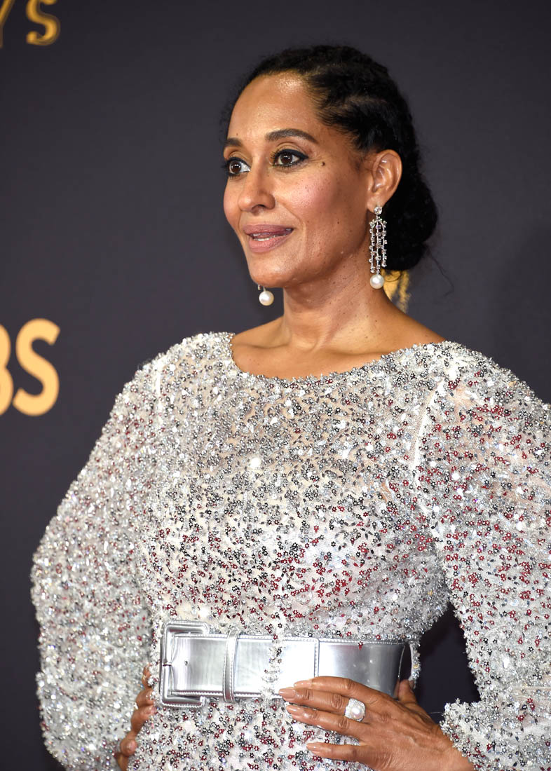 Tracee Ellis Ross In Chanel Feathers At 2017 Emmy Awards