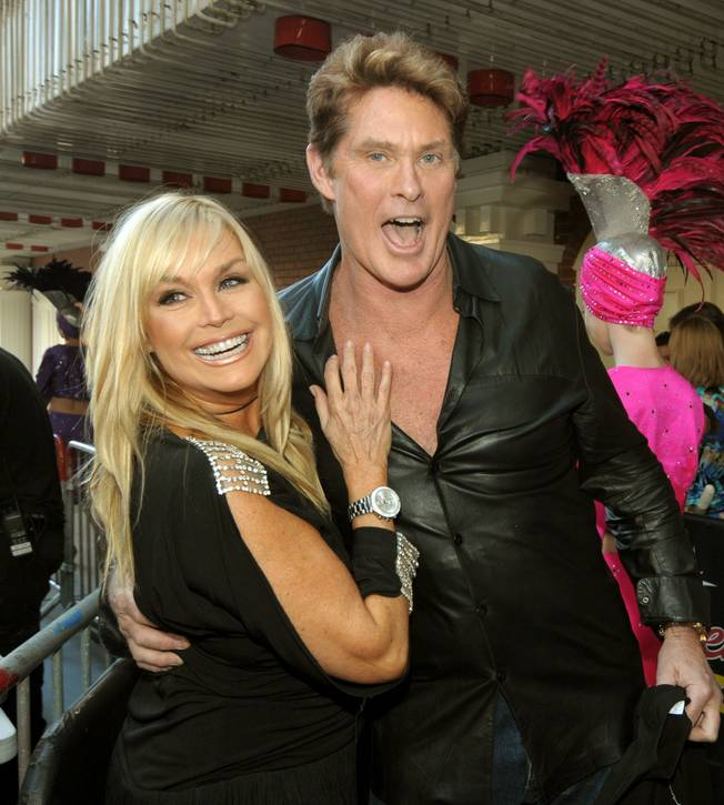 Catherine Hickland and David Hasselhoff at the Knight Rider Festival at Fremont Street Experience on March 19, 2010.