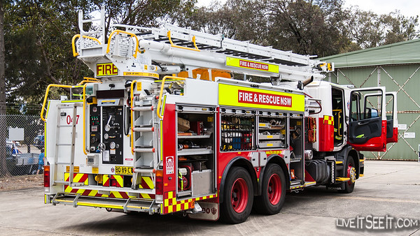 Fire & Rescue NSW Aerial Pumper from 47 Revesby station on display at NSW Police Air Wing Open Day, November 2012