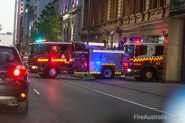 MFB Pumper at City of Sydney Fire Station as Runner 1 responds to an alarm call