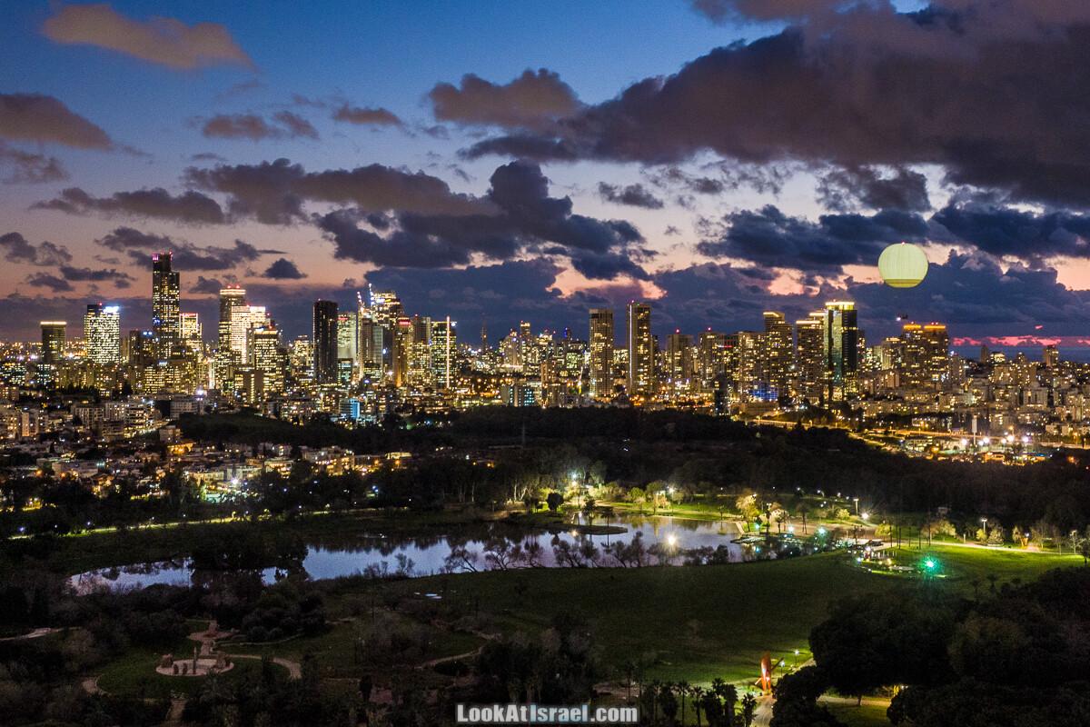 Вечерний Тель-Авив аэрофотосъёмка | LookAtIsrael.com - Фото путешествия по Израилю