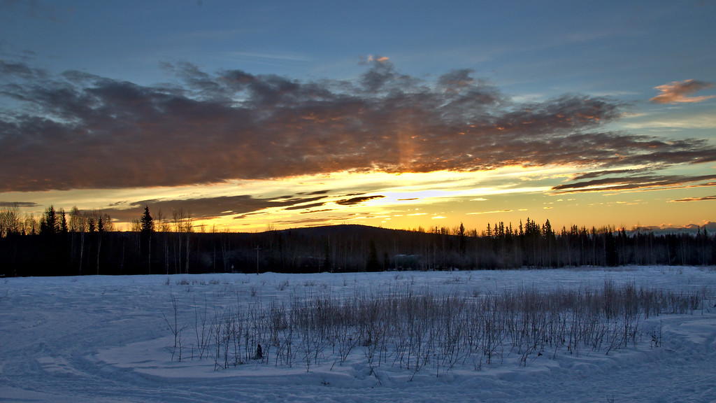 The sunrise is still happening - this time from the Musher's Hall on Farmer's Loop.