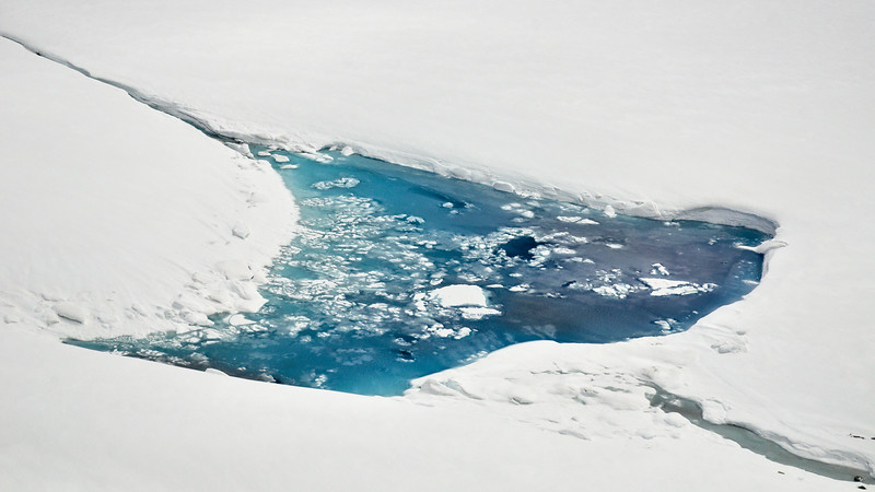 Water in a pothole up high on the Black Rapids Glacier. There is a water channel on the right, I believe it may be filling from Aurora Lake and then draining down-glacier.