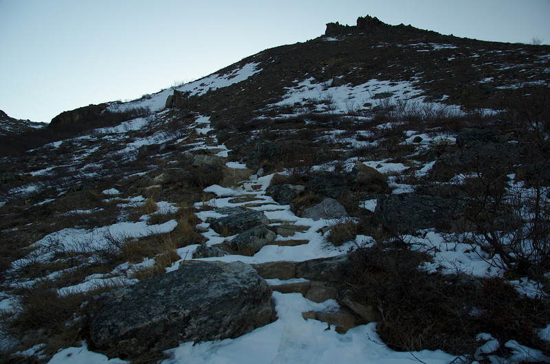 The beginning of the Alpine Trail, just above the rock outcropping at the Savage River parking area.