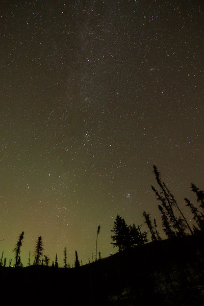 Our Galaxy. With a bit of aurora. And that fuzzy blob up and right is the Andromeda Galaxy. Cool.