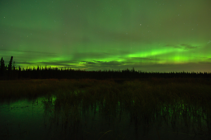 Northern lights over Smith Lake in Fairbanks, Alaska