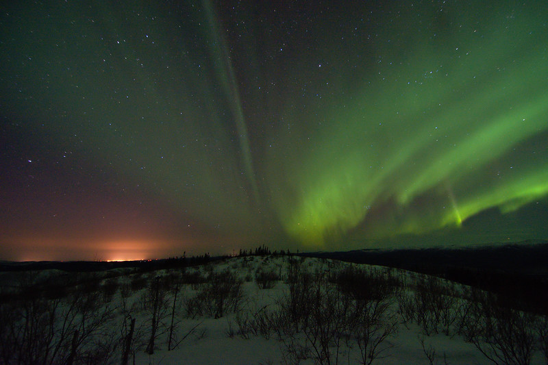 Northern Lights and Fairbanks Lights. Fairbanks is about 40 miles away.