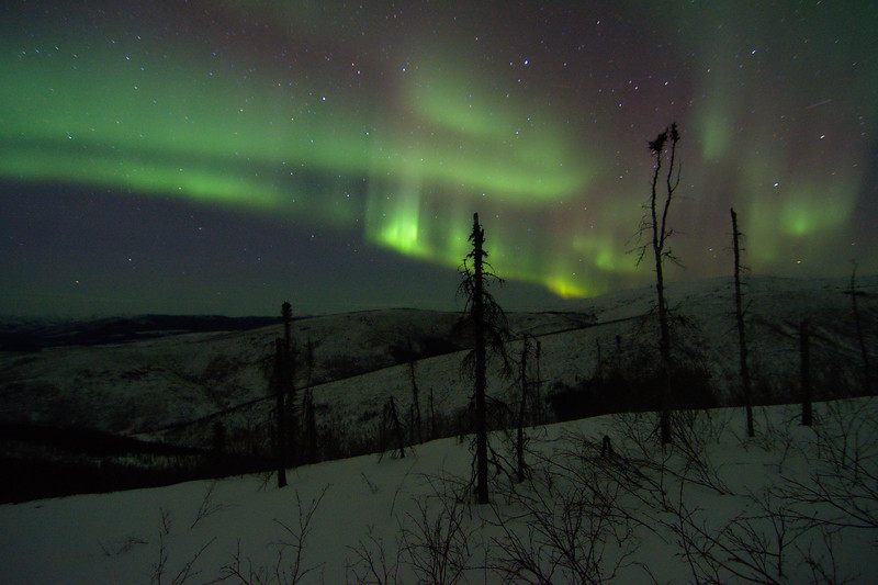 Viewing the northern lights from the Granite Tors Trail