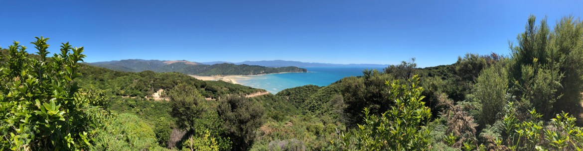 Abel Tasman Coast Track - Great Walks NZ. A view from the start of the Abel Tasman National Park trail, looking back toward the park's rolling hills and native bush. The Tasman Sea meets the dramatic peaks on white sand beaches that make a half-moon arch out to a distant point.