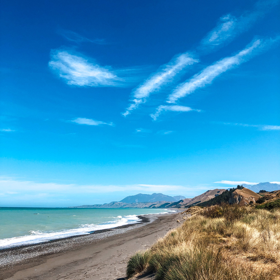 A view of the grey sand beaches along New Zealand's East Coast near Kaikoura, along highway 1 between Picton and Christchurch.