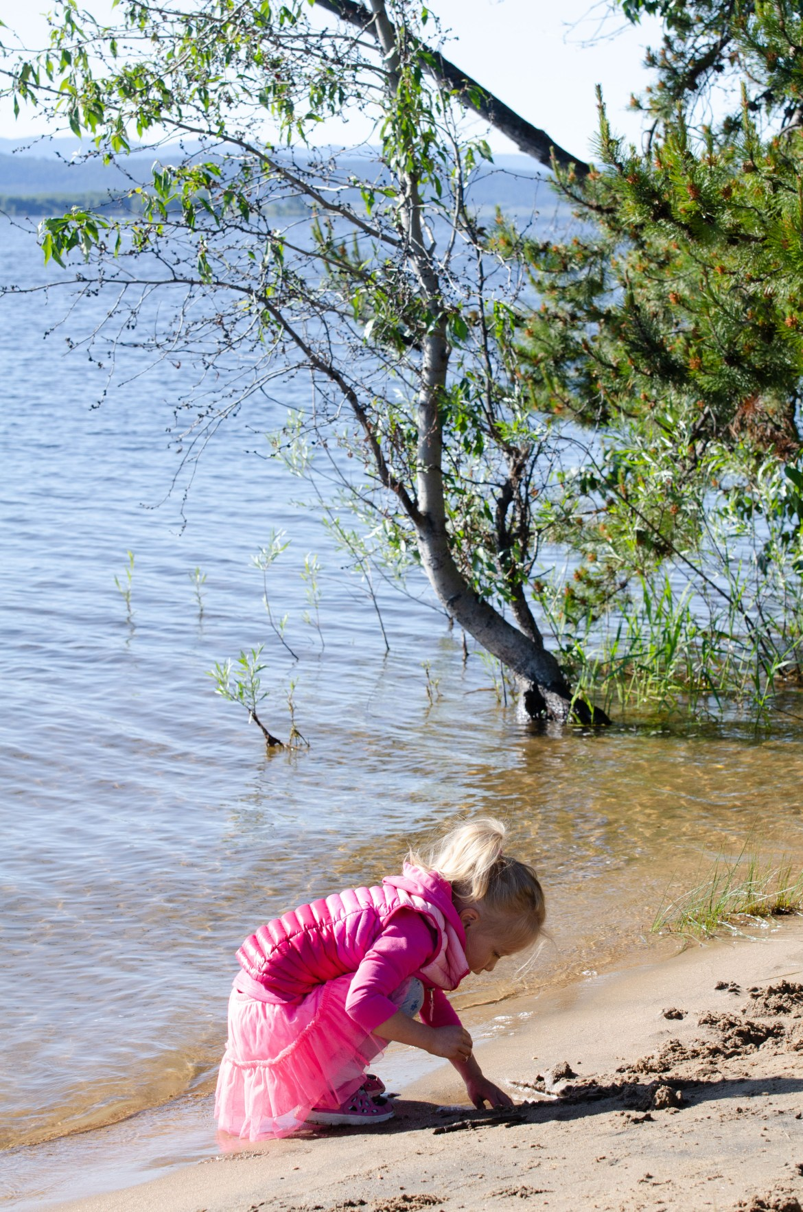 A young girl plays on the sandy shore of Cascade Lake, at Idaho's Cascade Lake State Park near Tamarack Resort and Donnelly, Idaho.  She wears a pink down jacket, pink sneakers, and a pink tulle skirt.  Trees and grasses grow in the water at the lake's shore.