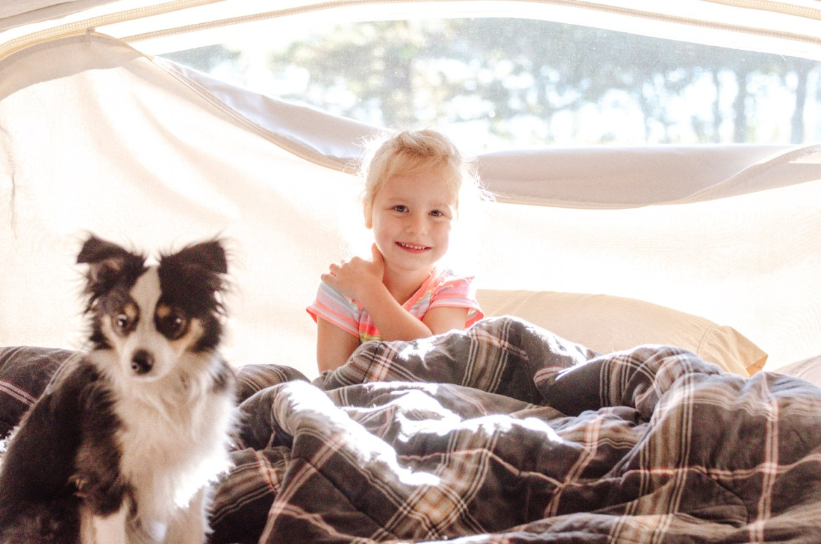 A young girl sits among blankets in a canvas-covered pop-out tent with her puppy, a miniature Australian Shepherd.  Sun streams into the tent trailer, a 2012 Starcraft travel trailer RV.